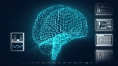 3D Motion Graphic of a Human Brain and DNA — Stok video