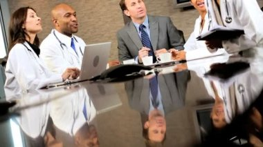 Multi Ethnic Medical Executives in Boardroom — Stock Video