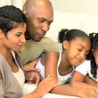 Young African American Family with Wireless Tablet — Stock Video