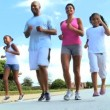 Healthy Young Ethnic Family Jogging Together — Stock Video