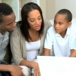 Cute Little African American Boys Playing on Laptop — Stock Video