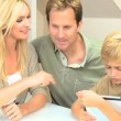 Little Caucasian Boy Using Wireless Tablet at Home — Stockvideo