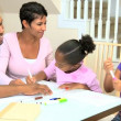 Stock Video: Little African American Girls Drawing Pictures