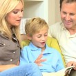 Caucasian Parents and Son Reading a Book — Stock Video