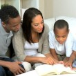 Parents and Little Ethnic Boys Reading a Book — Stock Video