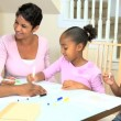Stock Video: Little Ethnic Girls Coloring Pictures