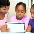 Cute Little African American Girls Playing Modern Tablet — Stock Video