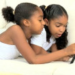Little Girls with Wireless Tablet — Stock Video