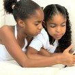 Little Ethnic Girls with Wireless Tablet — Stock Video