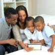Young Family Using Wireless Tablet for Online Video Chat — Stock Video