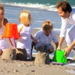 Young Caucasian Family Beach Fun — Vídeo de stock