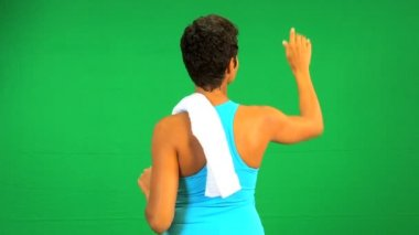 African American Female Fitness Green Touch Screen — Stock Video