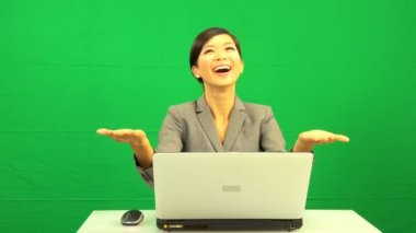 Asian Chinese Businesswoman Success Virtual Business Environment — Stock Video