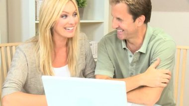 Caucasian Couple Happy with Their Financial Planning — Stock Video