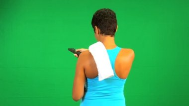 Fitness Female Remote Control Green Screen — Stock Video