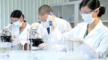 Laboratory Assistants Working on Research Data — Stock Video
