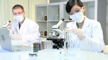 Young Multi Ethnic Medical Research Students — Stock Video