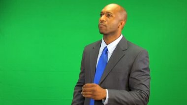 African American Businessman Touch Screen Green Screen — Stock Video