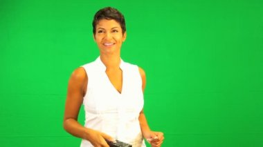 Remote Control Green Screen Ethnic Business Female — Stock Video