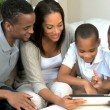 Young Boys and Their Parents With a Wireless Tablet — Vídeo de stock