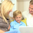 Caucasian Family Having Fun on Laptop Computer — Stock Video
