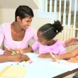Stock Video: Cute Little Girls Drawing Pictures