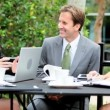 City Business Executives Wireless Technology Outdoors - Stock Photo