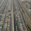Aerial view of rail freight container terminal, USA - Stock Photo