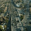 Aerial view of a freeway in the suburbs of San Francisco, USA - Stock Photo