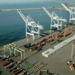 Aerial view of container lifting cranes, Port of Oakland, San Francisco, USA - Foto de Stock