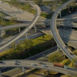 Aerial view of suburban road traffic system, USA - Stock Photo