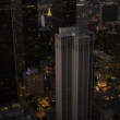 Aerial view at dusk of city skyscrapers Los Angeles, USA - Stock Photo