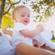 Cute Baby and Mom Playing Outdoors — Stock Video #23702781