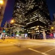 Motion Panning Time lapse Night City Traffic and Pedestrians - Stock Photo