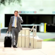Stock Video: BusinessmLeaving on Business Travel