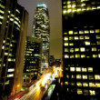 Stock Video: Time lapse Traffic Los Angeles Night