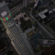 Stock Video: Aerial view at dusk of US Bank Tower, Los Angeles, USA