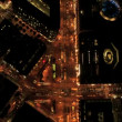 Aerial night vertical view of San Francisco city street traffic, USA — Stock Video