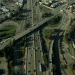 Aerial view of suburban traffic on a freeway, San Francisco, USA — Vídeo de stock