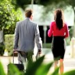 Assistant Meeting Businessman from Business Trip — Stock Video