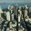 Aerial view of the city of San Francisco and Bay bridge, USA - Stock Photo