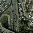 Aerial view of suburban traffic on a freeway, San Francisco, USA - Stock Photo