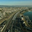 Aerial view of rail tracks and freeway, San Francisco, USA - Stock Photo