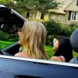 Caucasian Girls Driving Luxury Car — Stock Video