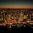 Aerial sunset view of Fishermans Wharf and San Francisco, USA - Stok fotoraf