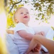 Cute Baby and Mom playing Outdoors — Stock Video #23707125