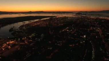 Aerial sunset view of the Port of Oakland, USA — Stock Video