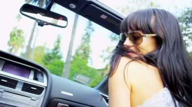 Girls Crazy Fun Driving Open Top Car — Stock Video