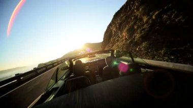 Cabriolet Convertible Driving Winding Coastal Road — Stock Video