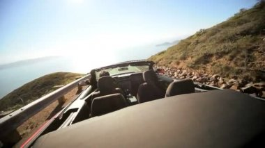 Vacation Driving Convertible Winding Coastal Highway — Stock Video